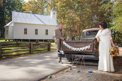 Bride at the Cades Cove Missionary Baptist Church
