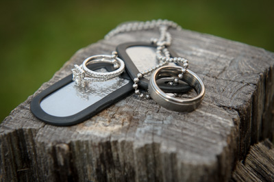 Wedding rings with dog tag